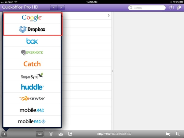 Quick Office Pro HD on the iPad with Google Docs and Dropbox support
