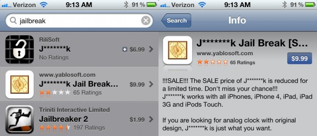 Apple censors Jailbreak