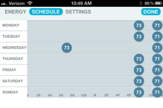 Nest Learning Thermostat schedule.