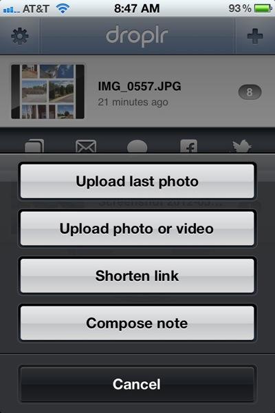 Droplr iPhone Upload Menu