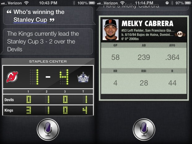 iOS 6 Hands On Siri Sports