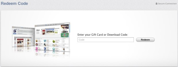 redeem code entry form in mac app store