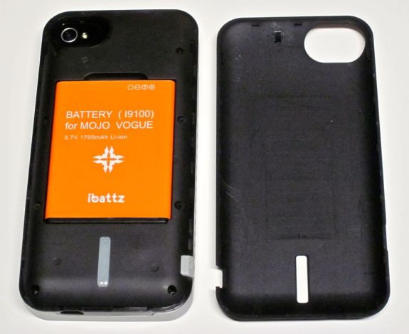 ibattz mojo armor case with back off showing removable battery