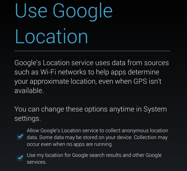 Nexus 7 Location services