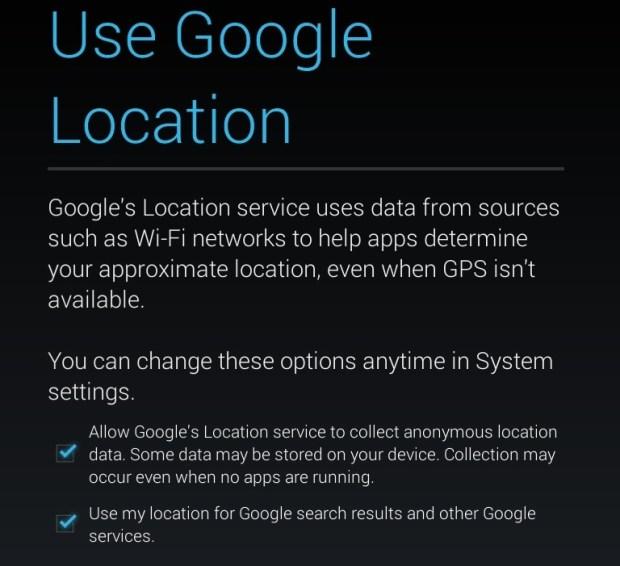 Nexus 7 Location services