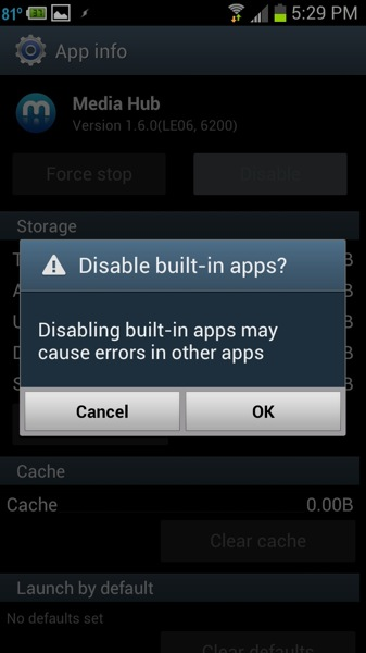 android app disable warning