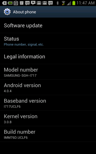 my samsung galaxy note has ICS
