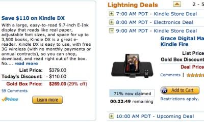 Amazon Kindle DX Gold Box sale