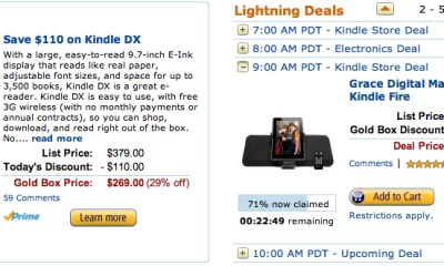 Amazon Kindle DX Gold Box sale