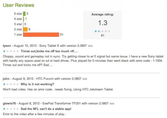 NFL Preseason Live Android Tablets Fail