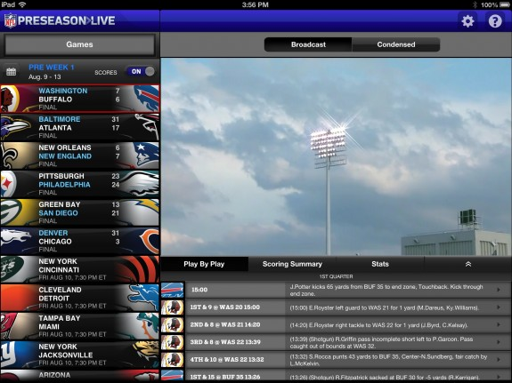 NFL Preseason Live Review iPad - Game Overview
