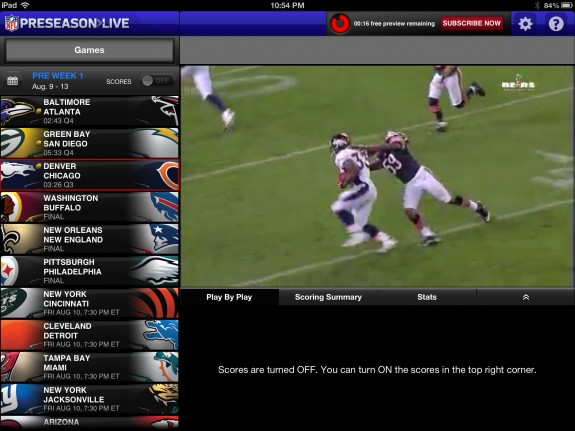 NFL Preseason Live Review iPad - small view