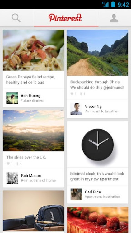 Pinterest Android App Screen 1