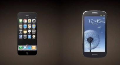 iPhone 5 vs Galaxy S III 3D render front