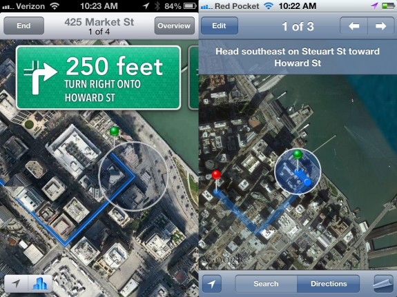 Apple Maps Navigation iOS 6 vs iOS 5