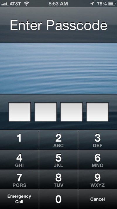 passcode on lock screen