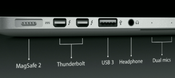 13-inch MacBook Pro with Retina Display ports