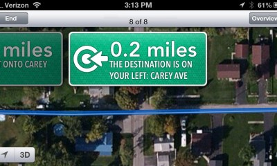 Apple Maps Error - Drive through yards