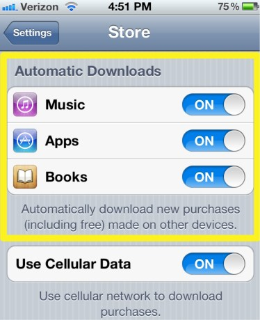 Automatically Download Apps Books Music to iPhone