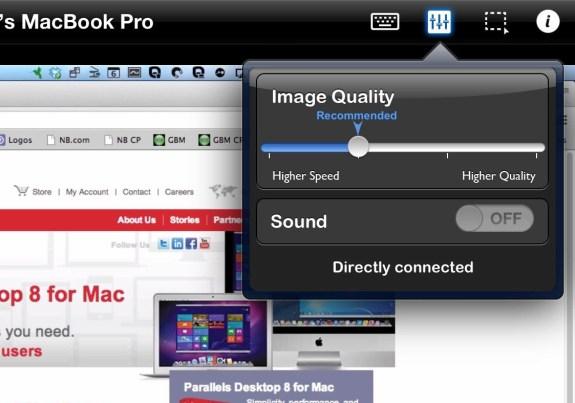 parallels mobile customization menu