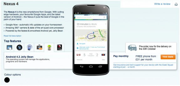 LG Nexus 4 Carphone Warehouse