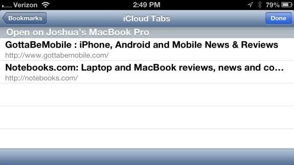 Safari iCloud Tab Sync
