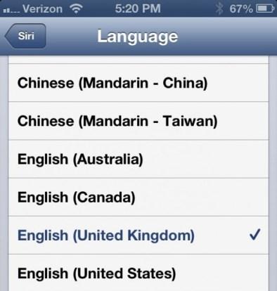 Siri British Accent