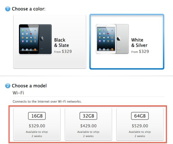 White iPad mini pre-orders