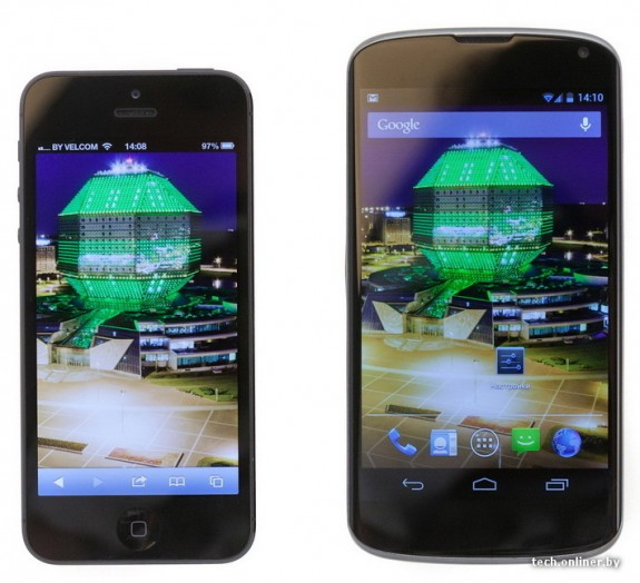 iPhone 5 LG Nexus 4 comparison