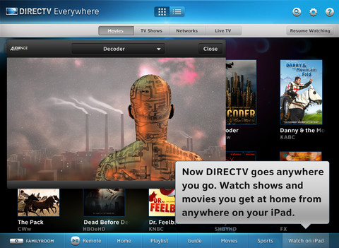 Direct TV live TV iPad app