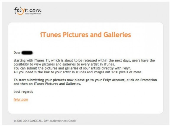 iTunes 11 Feiyr email