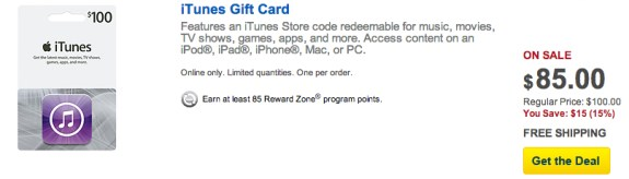 Best Buy iTunes gift card