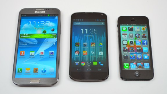 Galaxy Note 2 vs iPhone 5 vs Nexus 4 - 01