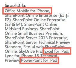 Microsoft support Office Mobile for iPhone