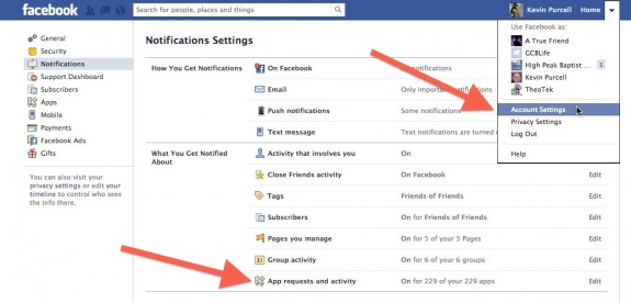 facebook turn on notifications