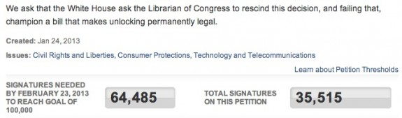 Cell Phone Unlock Petition WhiteHouse