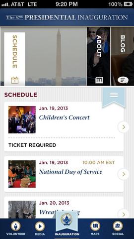 Inauguration iPhone app