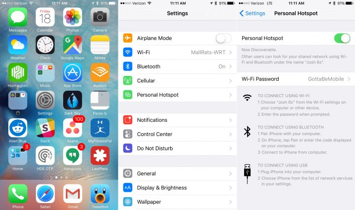 How to use the iPhone as a personal hotspot over USB.