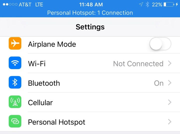 iPhone hotspot as USB