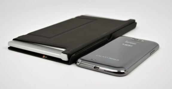 The Galaxy Note 2 next to the ZAGGKeys Flex.