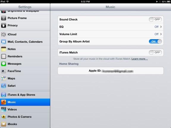Home Sharing Enabled (iPad)