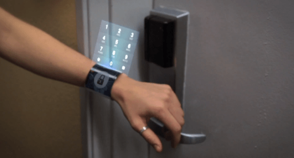 The iWatch being used to open a locked door.