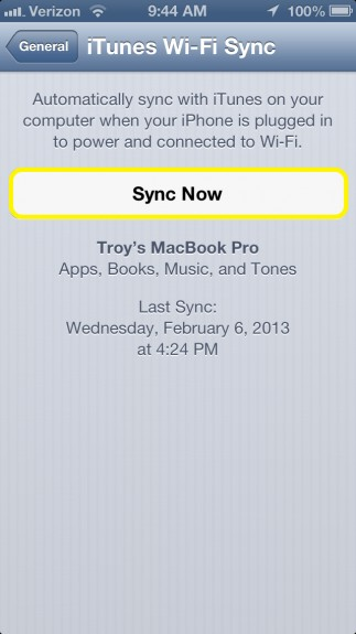 Sync iPhone