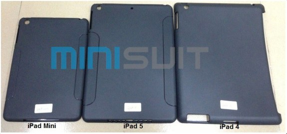 An iPad 5 case next to an iPad mini case and an iPAd 4 case to show size.