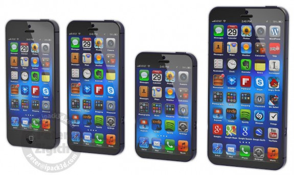The iPhone 6 XL on the right would offer a Galaxy Note 2 size display without the added size.