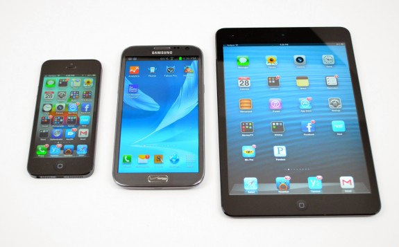 The Galaxy Note 2 is massive, here it is next to the iPad mini and iPhone 5.