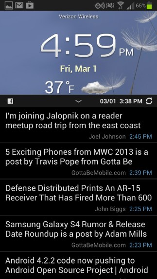 See facebook status updates on the Galaxy S3 home screen.
