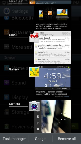 Check the currently running apps on the Samsung Galaxy S3.