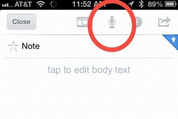 evernote built-in voice memo