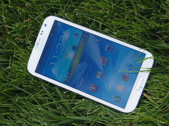The Galaxy S4 features a massive display.